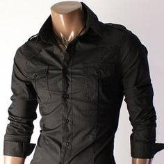 Mens Basic Mandarin Collar Flannel Shirt Comfortable Soft Cotton ...