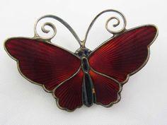 Sterling Silver Vintage DAVID ANDERSON NORWAY 925 RED Enamel Butterfly Brooch #DavidAndersen