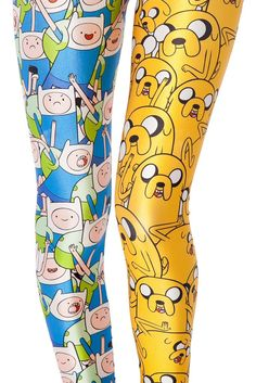 - Playful Finn and Jake Adventure Time leggings for the stylish woman - Cute character design offers a fun playful look - Great for the gym or casual day out - Made from polyester and spandex - One si