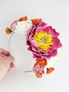 Peony headband от FlowerFromEugene на Etsy