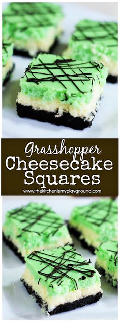 Grasshopper Cheesecake Squares ~ Enjoy the flavors of the classic Grasshopper cocktail in a beautifully layered cheesecake treat. #grasshopper #cheesecake #cheesecakesquares #StPatricksDay #StPatricksDaydesserts #thekitchenismyplayground  www.thekitchenismyplayground.com