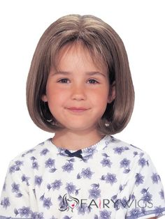 Custom Super Charming Short Brown 100% Indian Remy Hair Kids Wigs 12 Inch