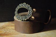 Women Leather Belt  Vintage Belt Buckle  Color by CUERO925LEATHER, €26.00