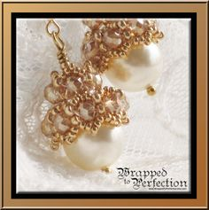 Large Swarovski Pearl and Crystal Earrings by WrappedToPerfection