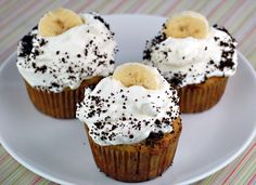 Healthy and GF Banana Cream Pie Cupcakes