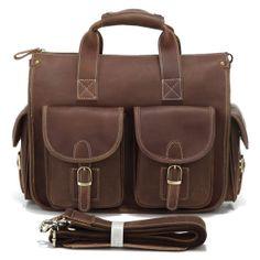 """Vintage Handmade Crazy Horse Leather Briefcase / Messenger / 13"""" Laptop Bag"""