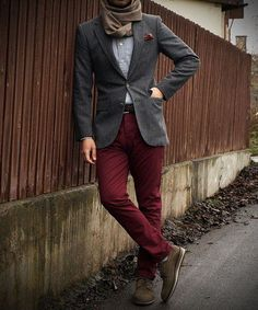 Shop this look on Lookastic:  http://lookastic.com/men/looks/scarf-pocket-square-long-sleeve-shirt-blazer-belt-chinos-derby-shoes/8997  — Brown Scarf  — Burgundy Print Pocket Square  — Light Blue Chambray Long Sleeve Shirt  — Charcoal Wool Blazer  — Dark Brown Woven Leather Belt  — Burgundy Chinos  — Brown Suede Derby Shoes