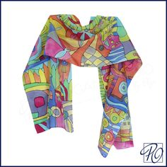 Hand Painted Silk Scarf Hundertwasser  'Inspired by'