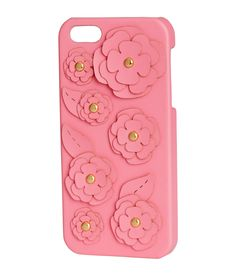 Give glam to her spring selfies with this pink plastic phone case adorned in faux leather flower appliqués. Fits iPhone 5/5s. | H&M Gifts