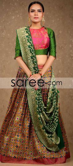 Multi Colored Ikkat Print Pleated Designer Lehenga with Bandhani Dupatta By Asopalav Designer Blouse Patterns, Dress Patterns, Designer Dresses, Abaya Fashion, India Fashion, Choli Designs, Blouse Designs, Indian Dresses, Indian Outfits