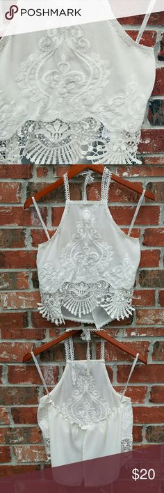 White Lace Crop Top Pair this crop top with a black skirt and some cute sandals for date night/girls' night!  Lace tie around neck Elastic band on back Slit down back  A little bit see through  Fits flowy Size medium Worn several times NO flaws  *same or next business day shipping  *offers accepted the clothing company Tops Crop Tops