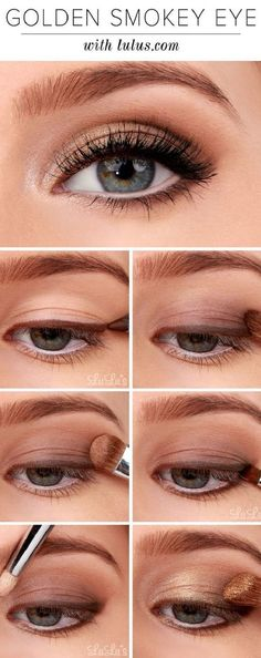 16 Easy Step-by-Step Eyeshadow Tutorials for Beginners: #8. Golden Smokey Eye Tutorial for Beginners