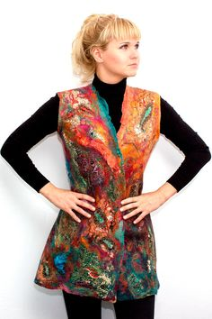 Nuno Felted jacket Vest Оriental luxury van FfeltT op Etsy