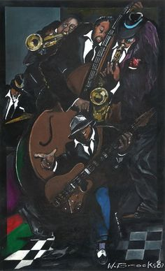 Artist, Wendell Brooks captures the heart and soul of Jazz music. The artist skills perfectly blends the correct shading into awesome painting capturing the soul of music. Jazz Art, Jazz Music, Jazz Players, Cool Paintings, Black Art, Art Prints, Band, Movie Posters, Fictional Characters