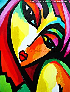 """Modern Fauve Girl""   original contemporary acrylic painting by artist Martina Shapiro, abstract female figure"
