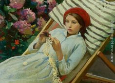 Girl with a Red Hat Painting by Harold Harvey