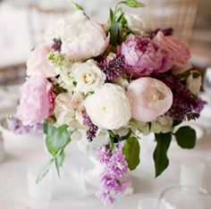 Tables but add blush dahlia, green rose, berries, dusty miller more. Greenery
