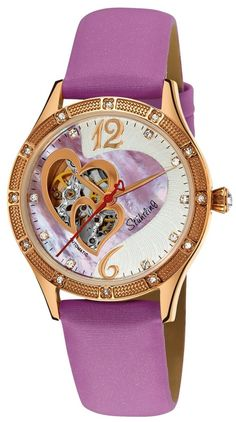 Womens Fashion Jewelry: Stuhrling Original Womens Vogue Harmony Automatic Skeleton Swarovski Crystals Mother-Of-Pearl Purple Heart Watch: Watches