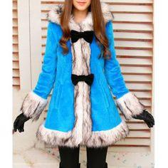 Stylish Color Block Long Sleeve Faux Fur Embellished Hooded Women's Coat, BLUE, S in Jackets & Coats   DressLily.com