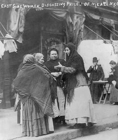 East Side Women discussing price of meat during NYC meat boycott April 1910.  This images is a great example of layering to keep warm. Bain Collection