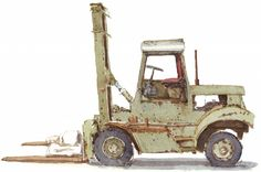 Old beaten up forklift truck watercolor