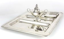 Graff Washbourne Dunn Sterling Silver Smoking Set Tray Lamp & Ashtrays Caldwell