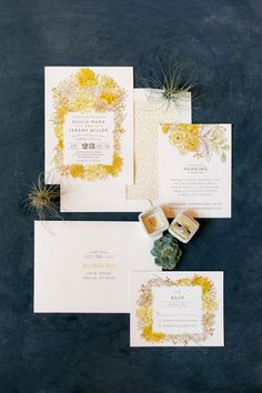 Yellow botanical wedding invitations
