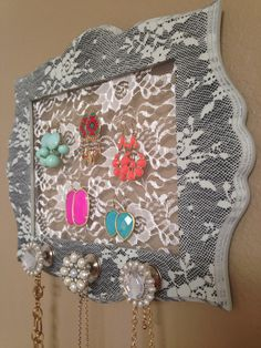 Gray Floral Jewelry Frame  by Downtownalyshop on Etsy https://www.etsy.com/listing/226319454/gray-floral-jewelry-frame