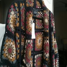 Zara Sweaters - Patchwork crochet cardigan coat