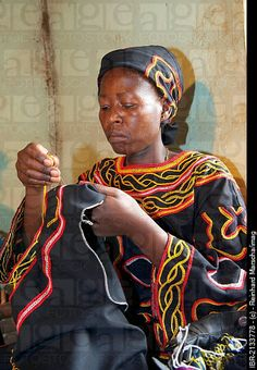 cameroon traditional attire | ... traditional dress doing embroidery work, Bamenda, Cameroon, Africa