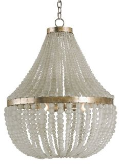 Currey & Company Chanteuse Chandelier Draped delicately from a wrought iron frame, gorgeous glass beads form the light fixture's sophisticated silhouette. Chandelier accepts max bulb (not included). Chandelier Design, Empire Chandelier, Silver Chandelier, 3 Light Chandelier, Glass Chandelier, Designer Chandeliers, Dining Chandelier, Coastal Chandelier, Chandelier Ideas