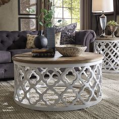 Vince Reclaimed Wood Moroccan Trellis Drum Coffee Table by Signal Hills (White Finish)
