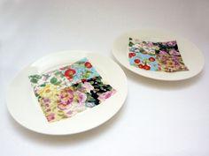 Patchwork Bone China 6.5 Tea Plates by JinnyNguiDesign on Etsy