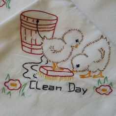 Vintage Flour Feed Sack Days of The Week Dish Towels 7 Embroidered with Chicks | eBay