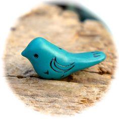 Polymer clay bird bead, Turquoise bird bead, Polymer clay beads