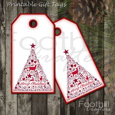 INSTANT DOWNLOAD -  12 Red and White Christmas Tree Gift Tags - 1.5 x 2 7/8 - Printable Digital Collage Sheet -  DIY Xmas Hang Tags - Gifts #foothillcrafters #etsy_shop #gift_tags #printabletags #christmastags #holidaytags #redandwhite #christmas_tree #reindeer #merrychristmas #hangtags #diytags #instantdownloadtags