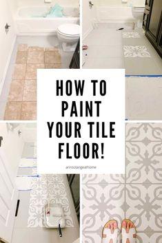 Painting Bathroom Tiles, Painting Tile Floors, Bathroom Floor Tiles, Painted Floors, Painting Ceramic Tile Floor, Bathroom Stencil, Diy Floor Paint, How To Paint Tiles, Paint For Bathroom Walls