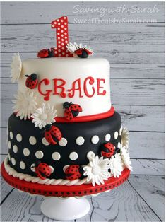 Ladybugs all dressed in red. Ladybug Birthday Cake birthday ladybug cake, 2 tier, red, b Ladybug Cakes, Ladybug Party, Ladybug Birthday Cakes, Cake Birthday, Dessert Party, Ladybug 1st Birthdays, First Birthdays, Baby 1st Birthday, First Birthday Parties