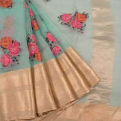 Applique Work Embroidered Greenish Blue Organza Fancy Saree With Floral Motifs & Zari Border 10013248 - creative - AVISHYA.COM