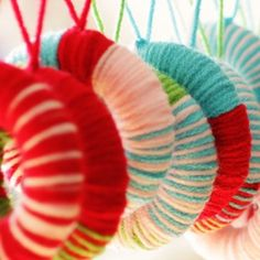 Yarn ornaments, I love this one and I think I was tell Ms. Smith about this one.