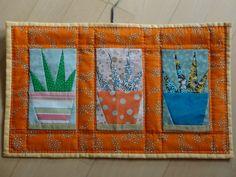 Drie cactussen; paperpiecing 2013.