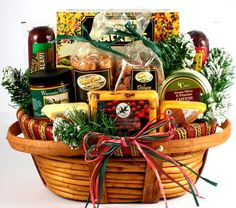 Home For The Holidays: Christmas Gift Basket with Cheese & Sausage - http://mygourmetgifts.com/home-for-the-holidays-christmas-gift-basket-with-cheese-sausage/