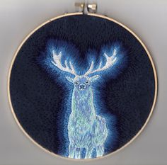 """Harry Potter Stag Patronus Embroidery"" by CatCoven on Etsy Embroidery Applique, Cross Stitch Embroidery, Embroidery Patterns, Cross Stitch Patterns, Bullion Embroidery, Embroidery Suits Design, Art Textile, Lesage, Fabric Art"