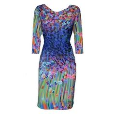 Beautiful and colorful dress of Eroke with great print! Model Flower and Butterfly | Collectie Eroke Jurken | Fashionboutique Femelle