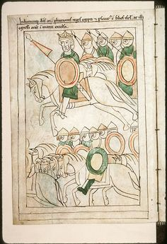 Illustration from the Navarre Picture Bible. Pamplona, Spain, 1197AD Although the stories portrayed in the illustrations are ancient, the figures wear 12th century Navarrese costume. Pharaoh and his army in pursuit of the Hebrews. Click image for all images.   Pharaon et son armée à la poursuite des Hébreux Pharaoh and his army in pursuit of the Hebrews Previous      Next Pharaoh and his army in pursuit of the Hebrews.