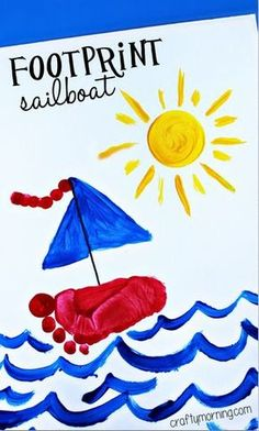 Footprint Sailboat Craft for Kids to Make - Crafty Morning - Footprint sailboat, Bild Fußabdruck Schiff You are in the right place about painting crafts Here w - Kids Crafts, Daycare Crafts, Crafts For Kids To Make, Cute Crafts, Toddler Crafts, Projects For Kids, Art For Kids, Infant Art Projects, Crafts For Babies