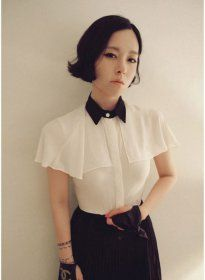 J71094 Black Lapel Korean Style Chiffon Shirt  $7.75