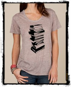 Stack of Books Reading boho slouchy t shirt Alternative Apparel KIMBER tee tshirt vintage style screenprint ladies scoop top by LittleAtoms on Etsy (null)