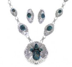 Genuine Sterling Silver Turquoise Link Necklace And Earrings Set EX32911 http://www.silvertribe.com