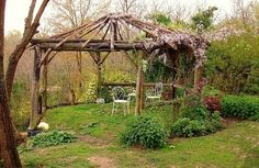 above the cellar April 2008 Gazebo with natural logs and a few climbing vines. The top needs to provide more shade.Gazebo with natural logs and a few climbing vines. The top needs to provide more shade. Gazebo Pergola, Rustic Pergola, Pergola With Roof, Wooden Pergola, Covered Pergola, Pergola Shade, Pergola Plans, Pergola Ideas, Corner Pergola